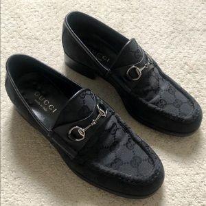 Gucci black GG monogram horsebit loafers 6 1/2 6